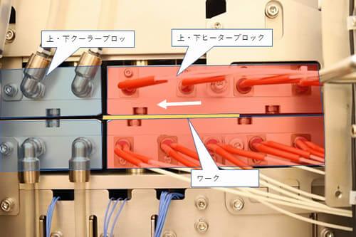 装置内の加熱から冷却部分へ移る箇所の写真